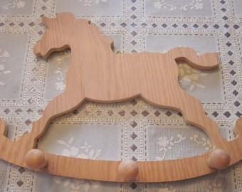Coat Hanger Horse with 3 knobs to hang - ready to be painted  approx 14 inches long