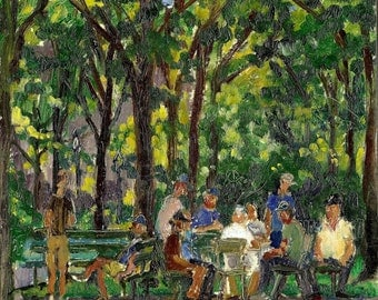 Dappled Summer Light, Domino Players in Inwood Hill Park, NYC. Small New York City 8x8 Plein Air Impressionist Oil on Panel, Signed Original