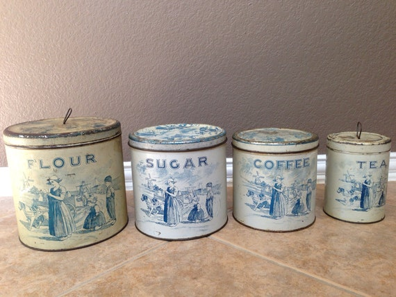 Antique vintage old 1920s dutch litho spice canisters by for Retro kitchen set of 6 spice tins
