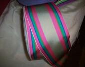 1 yd.of vintage stripe ribbon in beautiful colors   yardage