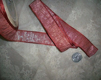 1 yard of french silk and metal ombre ruched RARE ribbon for ribbon work