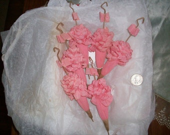 2-1920s party favors vintage pink parasols of crepe paper in near perfect condition
