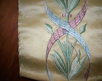 Antique embroidery hand done silk