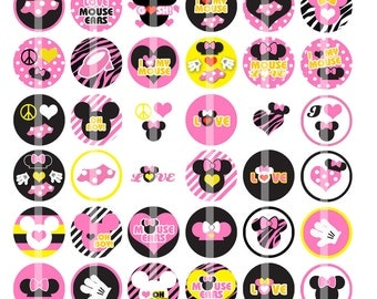 Pink Mouse Ears - 1 Inch Round - Digital Collage Sheet for Bottle Cap Pendants, Hair bow Centers, Cupcake toppers and more