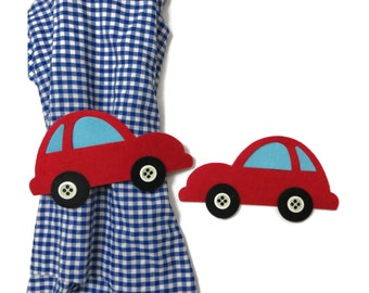 Curtain Holders- Curtain Tie Backs Magnet  With Felt Red Car