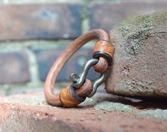 LEATHER CABLE BRACELET, Original Design, Hand Made, Brown Leather Bracelet, Mens Leather Bracelet, Womens Leather Bracelet,
