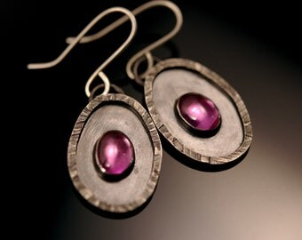 Pink Sapphire Earrings in Sterling Silver - oxidized silver - hammered silver - wedding jewelry - made to order