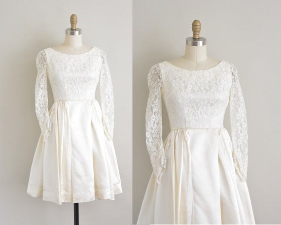 Vintage 1950s Wedding Dress / 50s White Satin And Lace Cupcake
