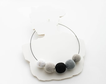White Black Elegance of Statement Necklace / Bib Necklace / Crochet Beaded Necklace Made in Israel by CasaDeGato