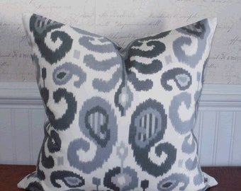 SALE ~ Decorative Pillow Cover: Gray Ikat Design 20 X 20 Accent Throw Pillow Cover