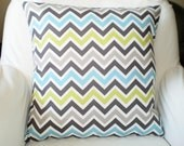 Blue Gray Green Chevron Pillows, Throw Pillow, Cushion Covers, Blue Gray Green Zig Zag Zoom Zoom Euro Sham, Pillow Covers, Couch, ALL SIZES