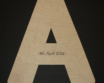 10 pc Plain Wood puzzle CUSTOMIZED with INITIAL - Hand Cut Wooden Jigsaw Guest Book