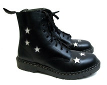 Mens Tredair UK  Boots Vintage Black with White Leather Star Inlay 8 Eyelet Combat Boots Made In England Mns US Size 12