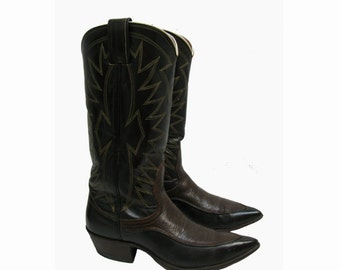 Nocona Cowboy Boots Vintage Womens Brown on Black Leather Pointy Toe Western Cowgirl Boots Fits Wms US  Size 5 Made In The USA