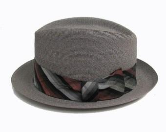 Vintage Mens Hat 1960s Pilgrim Straw Rockabilly Lounge Fedora Hat Mns Size 7