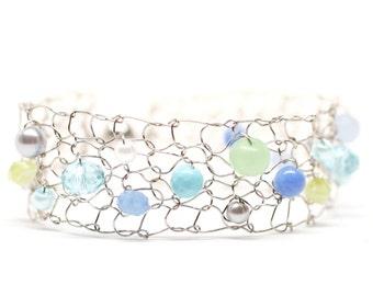 titanium bracelet colorful bracelet beaded bracelets dainty bracelets skinny cuff bracelet handmade jewelry gift for her aqua lime green