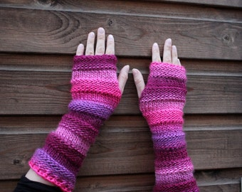 ARM WARMERS, long fingerless gloves - Dawn mittens - extra long, gift for her, knitwear UK