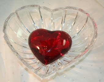 Vintage Crystal Heart Bowl Clear with polished lines on outside