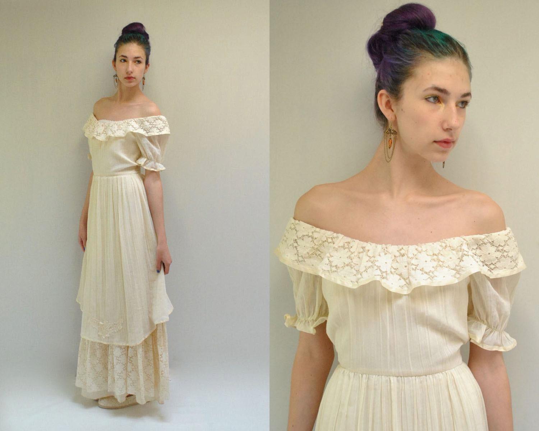 f the Shoulder Dress Boho Wedding by VintageUrbanRenewal
