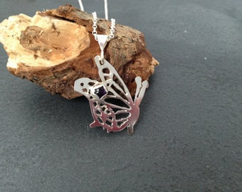 SALE Sterling silver hand pierced butterfly necklace with a 5mm Amethyst cabochon, Hallmarked