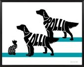 Two English Setters with Cat Silhouette Print, Personalized Pet Wall Art, 11x14 Framed Cats and Dogs