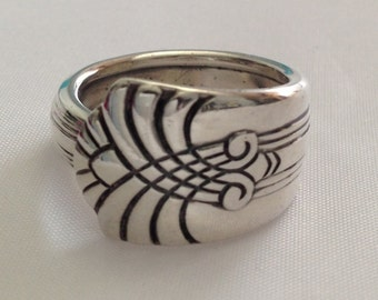 Spoon Ring VOGUE 1938 Art Deco Silverware Jewelry Vintage Silverplate Size 5 to 12 Choose Your Size