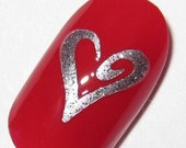 Toe nail / finger nail art Swirly Heart decals / stickers / pedicure Valentine's Day