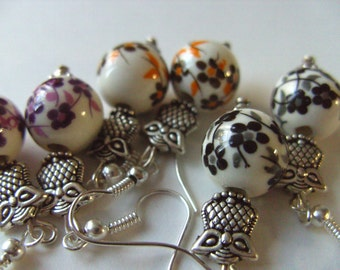 Black and white, brown and orange, flower, OWL, earrings, silver owl, by NewellsJewels on etsy