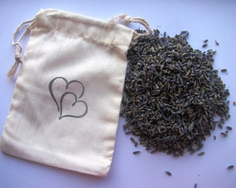 25 LAVENDER FILLED- Double Hearts- stamped muslin drawstring bags