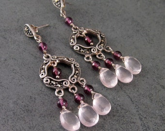 Garnet chandelier earrings with rose quartz, handmade sterling silver marcasite earrings-OOAK