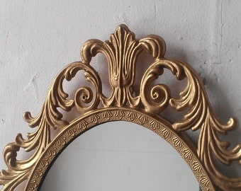Vintage Gold Hollywood Regency Mirror in 13 by 10 Inch Metal Frame, Home Interior, Mid Century Modern Vintage, Home Decor Wall Mirror