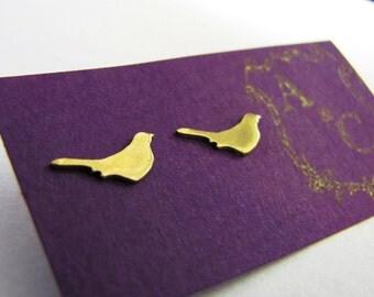 brass bird stud earrings