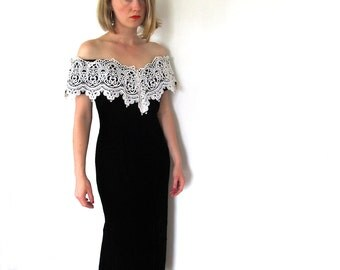 vintage gown dress gunne sax 80s cocktail black velvet lace off the shoulder 1980s womens clothing size small s 6