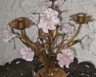 Light Up Your Table With A Great Chic Golt Gilt Pink Carnations Flower Candelabra Italain