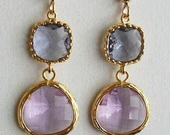 Tanzanite earrings, Amethyst earrings, Gold, Glass earrings, Purple earrings, Amethyst, Wedding, Bridesmaids, Bridal, Gift under 30