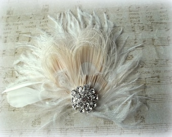 Fascinator, Feather Hair Clip, Wedding Hair Accessories, Bridal Hair Fascinator,Vintage Style Fascinator, Great Gatsby, Bridal Comb,