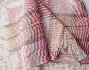 vintage acrylic plaid scarf- Made in Japan, warm, winter, vegan