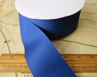 """new roll of 2 1/4"""" dark royal blue grosgrain ribbon - 50yds, polyester, made in USA"""