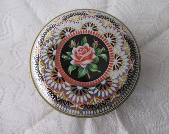 vintage DECORATIVE TIN- pink, black, gold, roses, ENGLAND,embossed