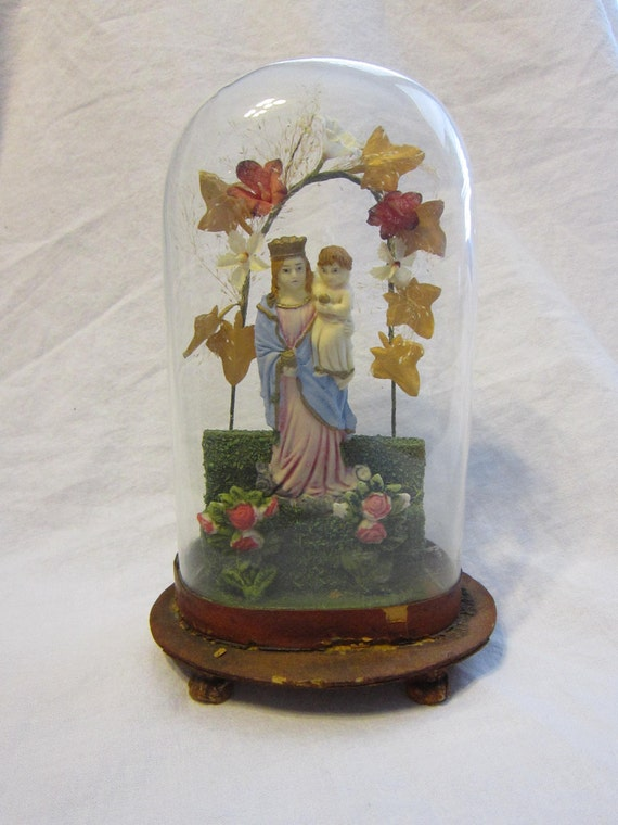 Antique Religious Wax Figurine With Hand Blown Glass Dome