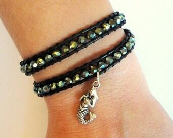 Mermaid Beaded Leather Wrap Bracelet