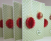 Christmas cards handmade note cards - ruffled ornaments