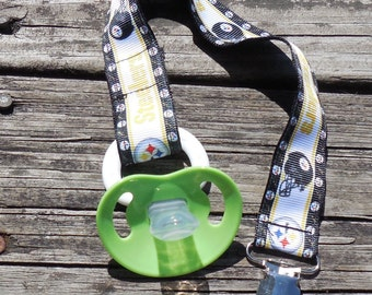 Pacifier Holder Sports Pacifier Holder Pittsburgh Steelers Binky Clip Steelers Pacifier Clip