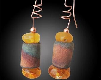 Rustic bronze and amber earrings