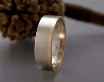 Mens Wedding Band - 14k White, Yellow, or Rose Custom Made Two Tone Wide Flat wedding Band - Part of You
