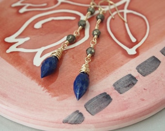Lazuli Lapis Pyrite Gold Filled Earrings