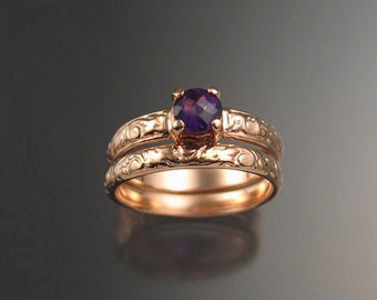 Amethyst Wedding set 14k Rose Gold Victorian floral pattern two ring set made to order in your size