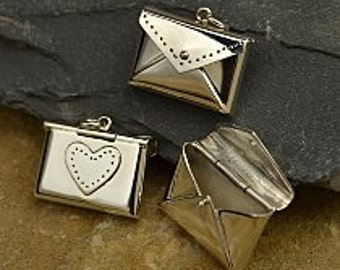 Sterling Silver Envelope Locket Pendant with Heart