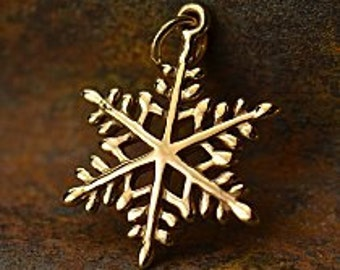 Large Snowflake Charm - Choose From Natural Bronze or Sterling Silver - Icicles, Winter, Water, Magical