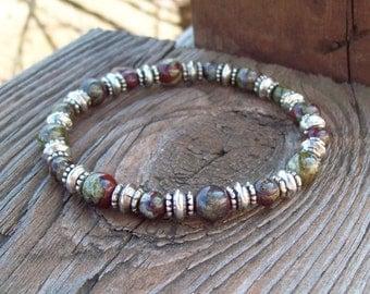 Dragon Blood and Silver Beaded  Meditation Stretch Bracelet - Yoga Bracelet